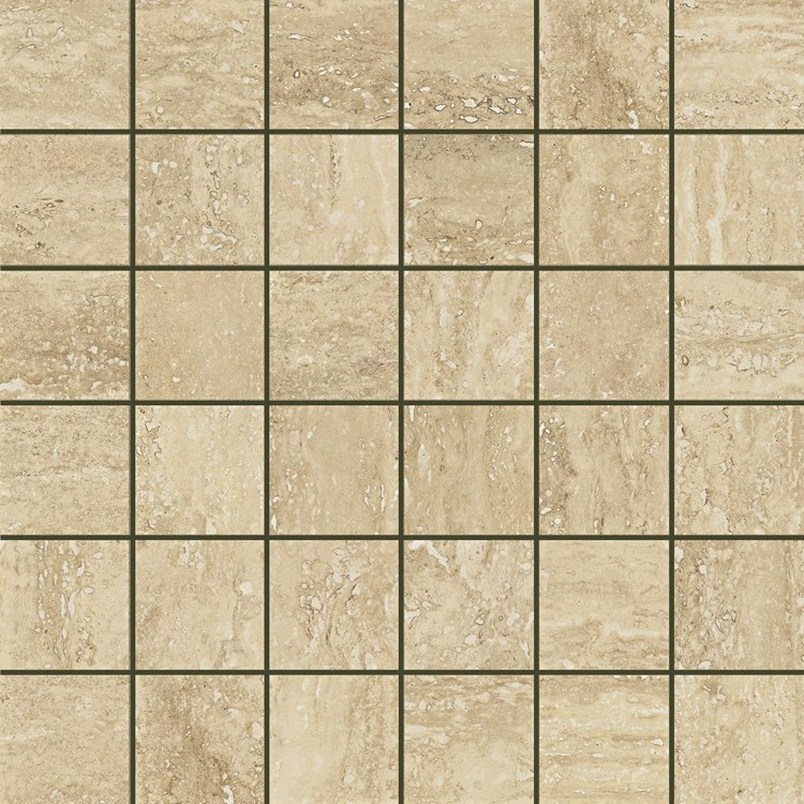 Italon Travertino Floor Mosaico Romano